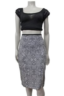 Express High Waist Paisley Print Pencil Skirt Black-white