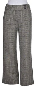 Façonnable Womens Green Plaid Wool Career Trousers Pants