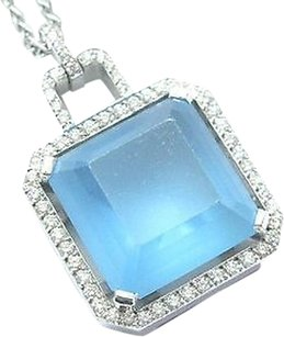 Fancy 18kt,Fancy,Blue,Topaz,Diamond,Square,Pendant,Necklace,Wg,10.55ct