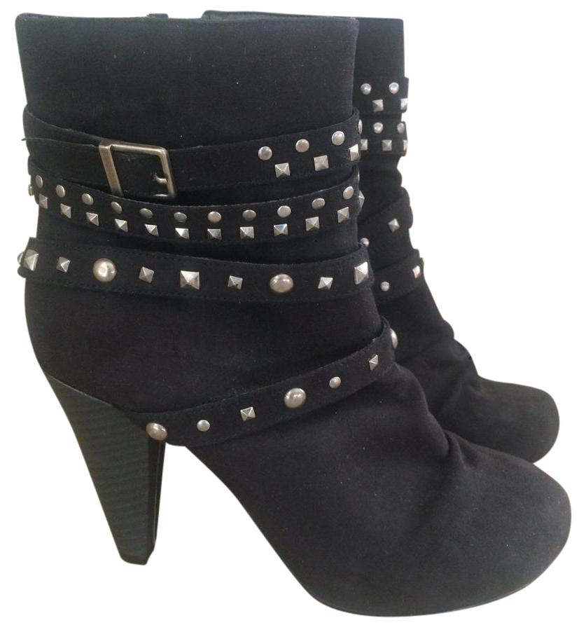 fashion bug black studded boots booties size us 7 5 wide