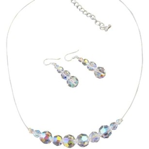 Genuine Swarovski Ab Round Crystals Bridal Bridesmaid Jewelry Set