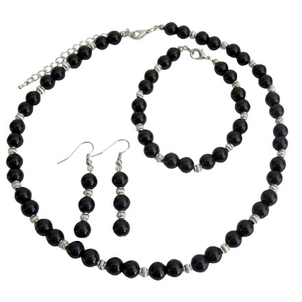 Fashion Jewelry For Everyone Black / Silver Alluring Pearls and Set - See More At: Necklace