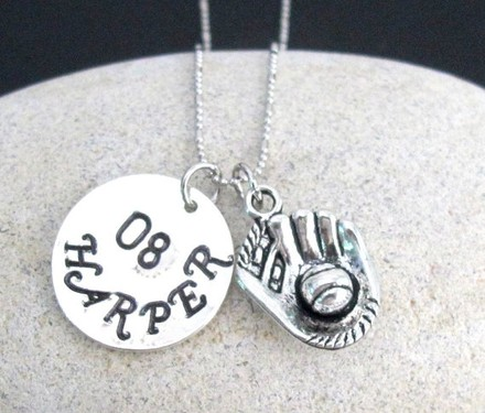 Fashion Jewelry For Everyone Silver Baseball with Hand Stamped Name and Number Team Sport Baseball Mitt and Ball Charm Necklace