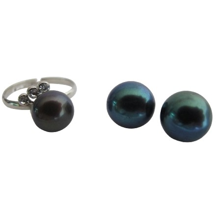 Tahitian Adjustable Freshwater Pearl Ring with Stud Color Earrings