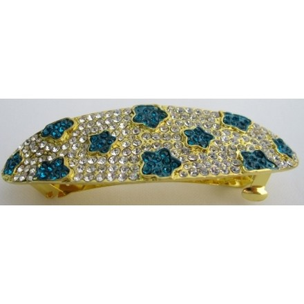 Golden/Blue Crystals Flower Prom Clear Crystals Barrette Hair Accessory