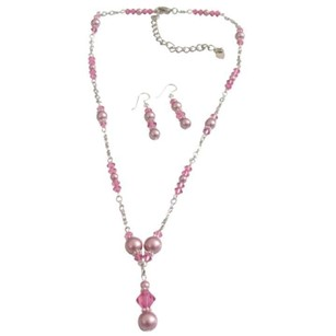 Bridal Genuine Swarovski Pink Crystals Rose Pearls Jewelry Set