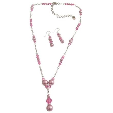 Pink Genuine Swarovski Crystals Rose Pearls Jewelry Set
