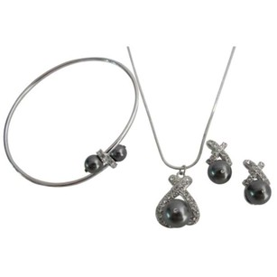 Dark Gray Bridesmaid Pearls Pendant Necklace Earrings Cuff Bracelet Jewelry Set