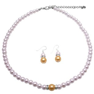 Bright Gold Pearls W/ White Pearls Affordable Bridesmaid Jewelry