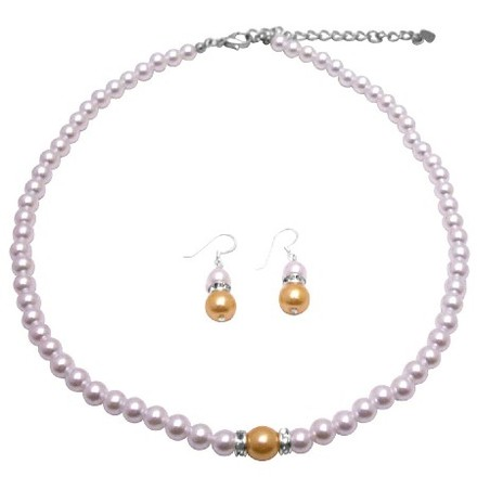 White Gold Pearls W/ Pearls Affordable Bridesmaid Jewelry Set