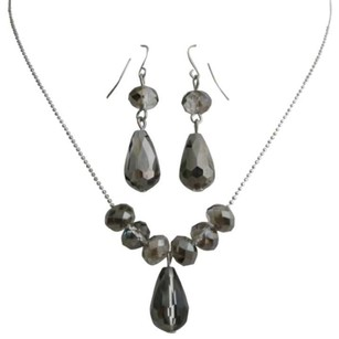 Classic Trendy Jewelry Black Diamond Crystals Teardrop Set