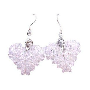 Clear Crystals Swarovski Puffy Heart Earrings Very Pure White Earrings