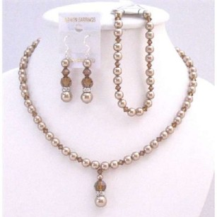 Complete Set Bridal Wedding Bronze Pearls & Smoked Topaz Crystals Set