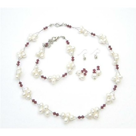 Ivory/Red Crystals Swarovski Siam Crystals Freshwater Pearls Jewelry Set