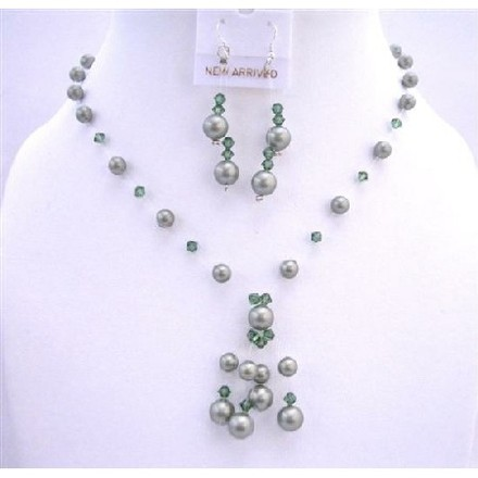 Green Custom Powder Pearls Turmarine Crystals Swarovski Tassel Jewelry Set