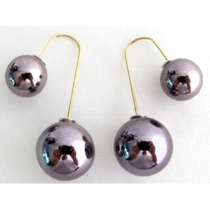 Dark Gray Double Sided Ball Earrings Swing Parallel