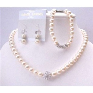 Ivory Silver Diamond Ball Embedd Tiny Crust Pearls Necklace Earrings Bracelet Jewelry Set