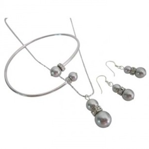 Economical Wedding Low Price Genuine Swarovski Pearls Lite Grey