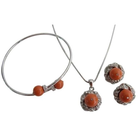 Fabulous Jewelry Coral Pearls Pendant Necklace Earring Bracelet