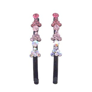 Fancy Hair Pin Fuchsia Rose Clear Crystals Black Pin Fantasy Hair Jewelry Pair