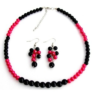 Fascinate Wedding Jewelry In Magenta Black Pearl With Grape Earrings Set