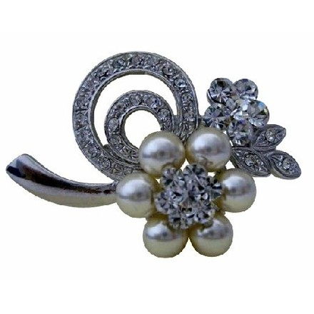Ivory/Silver Flower In Pearls Cubic Zircon Bridesmaid Brooch/Pin