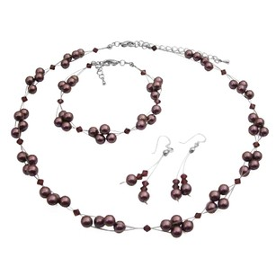 Genuine Swarovski Burgundy Pearls & Crystals Bridesmaid Jewelry Set