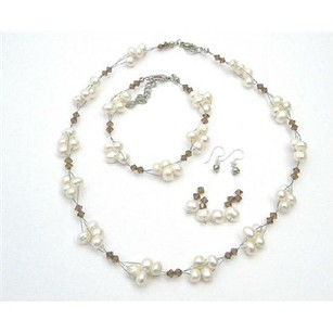 Handmade Artisan Smoked Topaz Crystals Freshwater Pearls Necklace Set