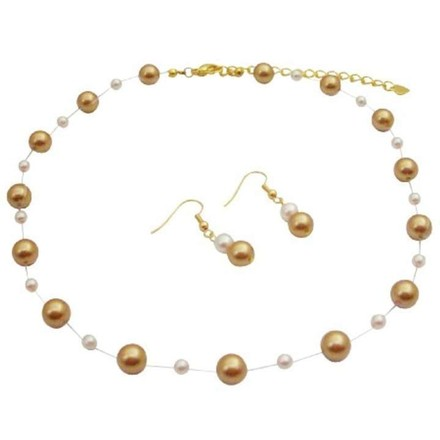 Harvest Gold/Ivory/Gold Handmade Pearls Pearls Chain Jewelry Set