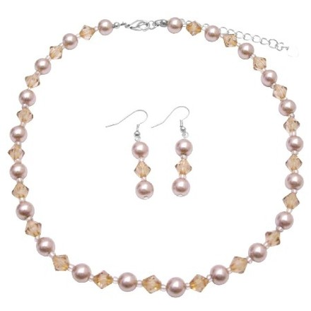 Champagne/Light Brown Inexpensive Pearls Colorado Crystals Jewelry Set