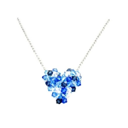 Inexpensive Sapphire Ab Crystal Puffy Heart Necklace