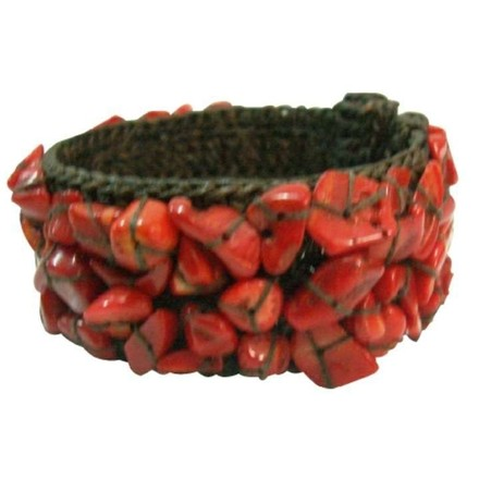 Red Inexpensive Smart Looking Cotton Rope Coral Wire Cuff Bracelet