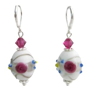 Inexpensive White Lampwork W/ Fuchsia Crystals Sterling Silver Earring