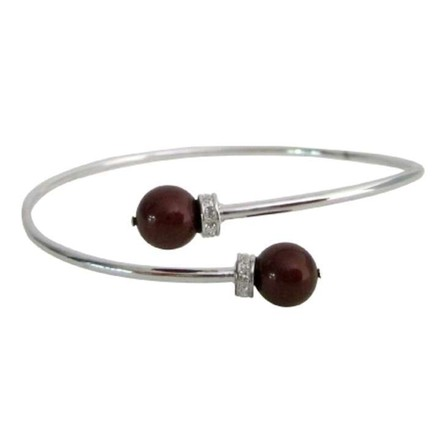 Wine Red Inspired Design Color Pearls Silver Cuff Superb Price Bracelet