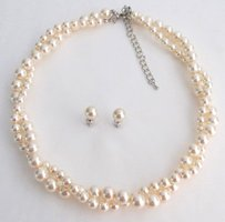 Ivory Pearls Twisted Necklace Stud Earrings Swarovski Elegant Pearls Perfect Bridal Jewelry