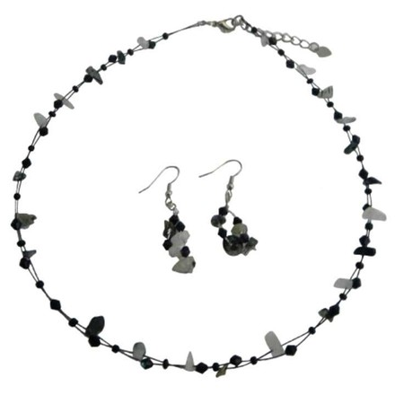 Jet And Opal Nuggets Stone Necklace Earrings Set