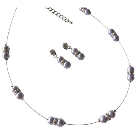 Purple Lilac Pearls Floating Illusion Necklace Glistening Rhinestones with Earrings Jewelry Set