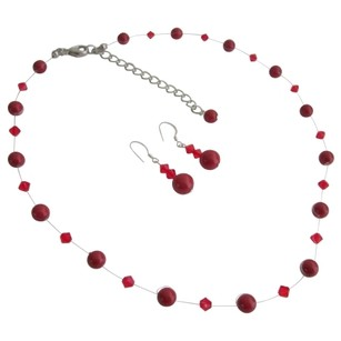 Red Lustrous Pearls Glistening Crystal Prom Or Semi Formal Jewelry Set