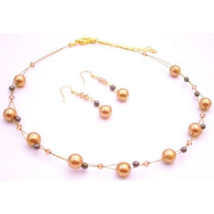 Gold/Brown New Year Eve Party Necklace Pearls Lite Colorado Crystals Jewelry Set