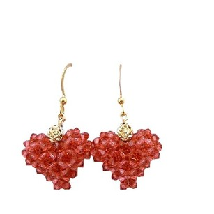 Padparadscha Swarovski Crystal Gold Plated 22k Puffy Heart Genuine Swarovski Crystal Very Beautiful Earrings