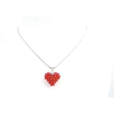 Red Passionate 3d Puffy Heart Lite Siam Crystals Pendant Necklace