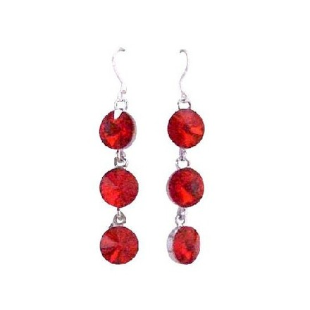 Passionate Lite Bright Siam Red Crystal Faceted Round Beads Earrings Sterling Silver