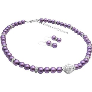 Pave Ball Cz Pendant Purple Pearls Silver Rondells Necklace Earrings