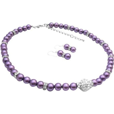 Purple Pave Ball Cz Pendant Pearls Silver Rondells Necklace Earrings Jewelry Set