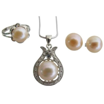 Peach Freshwater Pearls Pendant Necklace Stud Earrings & Ring