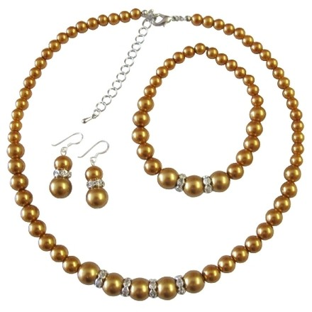 Pearl Jewelry Bridal Bridesmaid Golden Pearl Necklace Sterling Silver Earring W/ Stretchable Bracelet