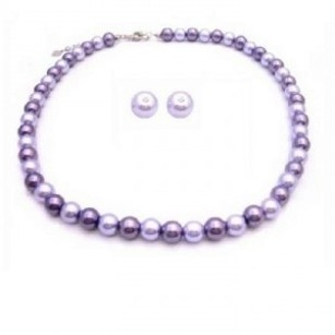 Pearls Wedding Jewlry Set Lilac & Silver W/ Stud Earrings