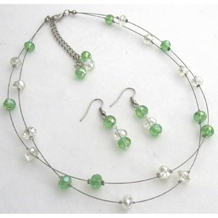 Peridot Ab Crystals Glass Beads Back Drop Down Necklace With Earrings