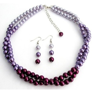 Light/Dark Purple Pretty Colors Plum Lilac Twisted Double Strands Necklace Earrings Jewelry Set