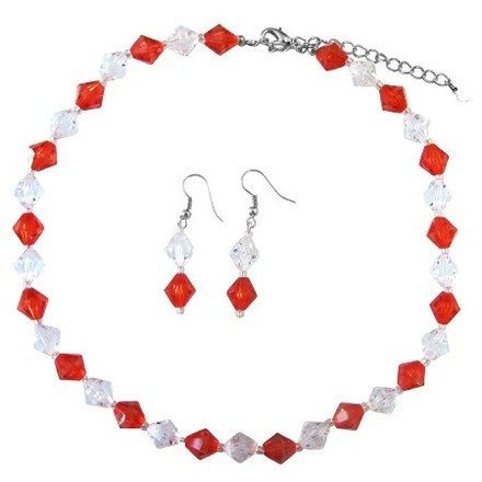 Red & Clear Crystals Cheap Wedding Imitation Crystals Jewelry Set